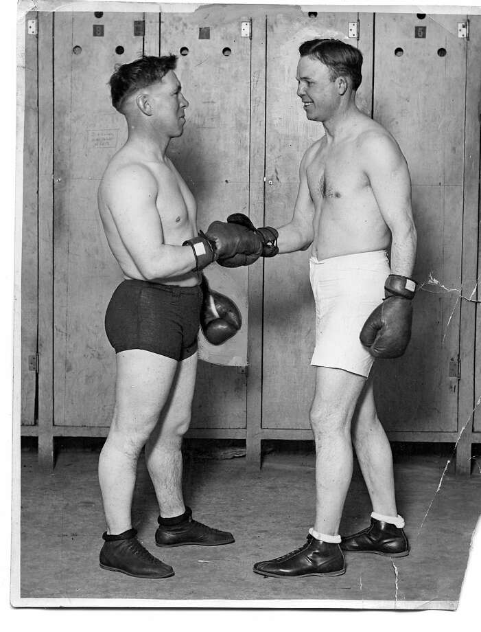 "Oscar ""Battling"" Nelson (right), shown here with Dick Hyland, won his hotly contested 1905 matchup against Jimmy Britt at a San Mateo County arena. Photo: Lloyd Craig, Fresno Republican"