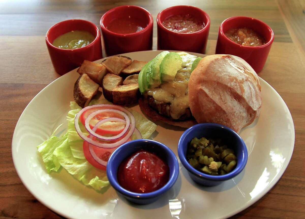 The signature steak burger at La Casa del Caballo