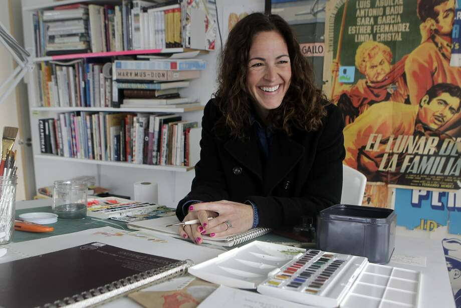 "Wendy MacNaughton's book, ""Meanwhile, in San Francisco: The City in Its Own Words,"" assembles sketches of residents. Photo: Paul Chinn, The Chronicle"