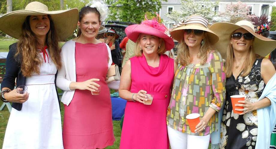 Talli Connell, Amy Owens, Nancy Antrobus, Cindy Raney and Nikki Pecknold at the Pequot Library's Kentrucky Derby Day party Saturday. Photo: Mike Lauterborn, Fairfield Citizen