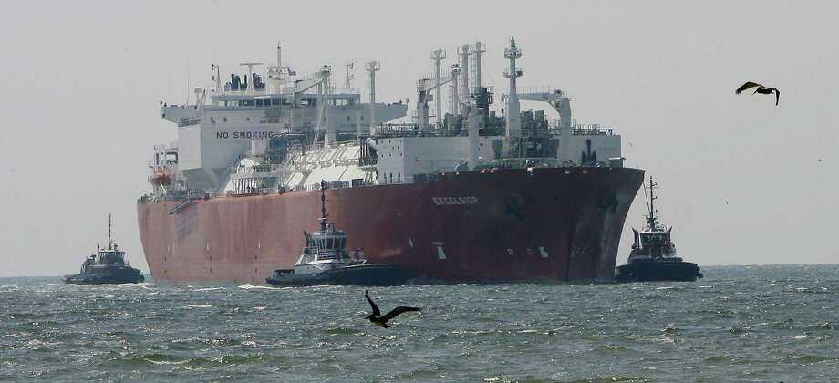 A ship arrives at the Freeport liquid natural gas terminal in Houston. More LNG exports will create hun-dreds of thousands of jobs and aid the economy. Photo: Steve Campbell / Houstron Chronicle / Houston Chronicle