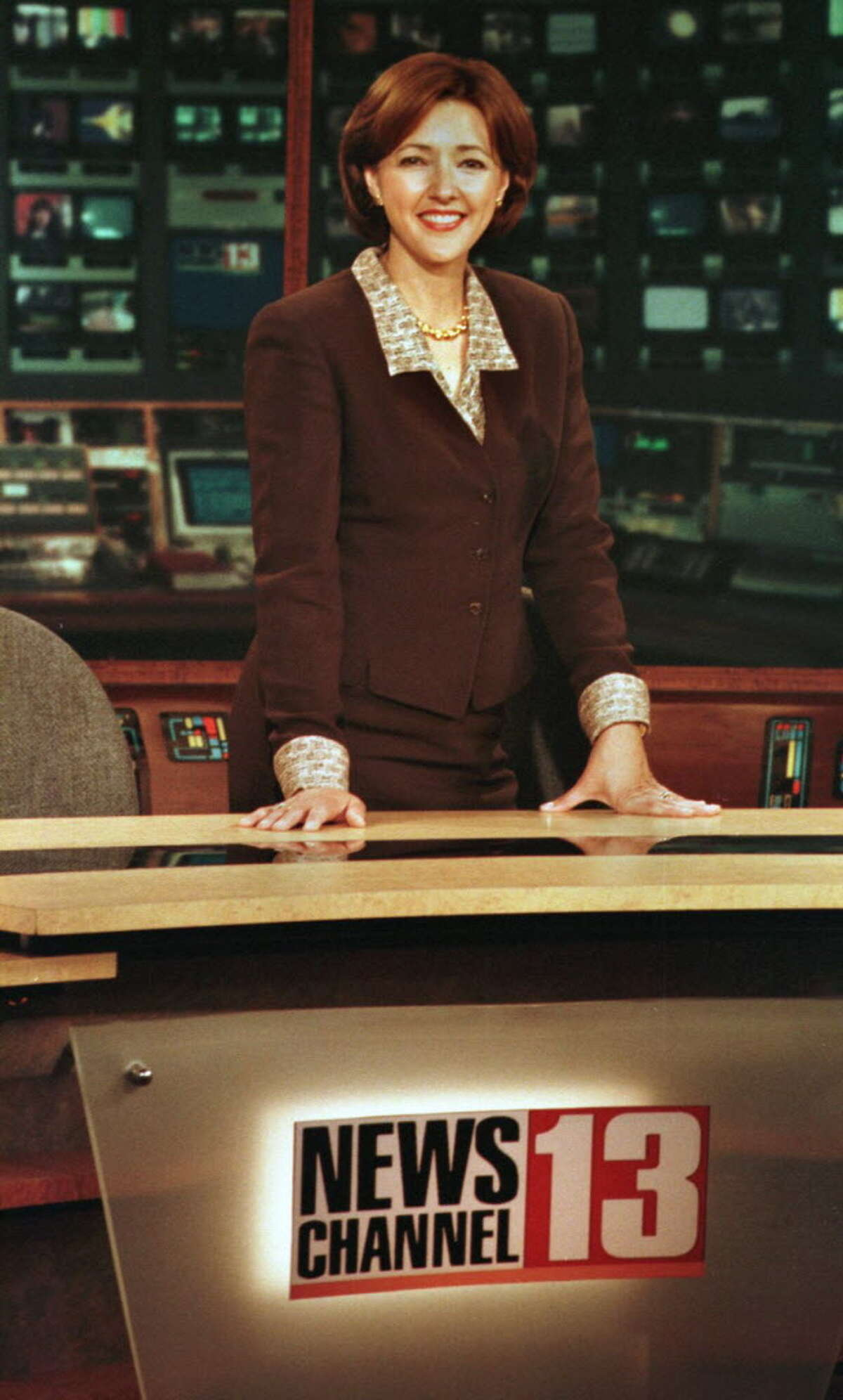 WNYT'sChris Kapostasy is seen in the studio on her last day with the station Friday, June 12, 1998, after 17 years.