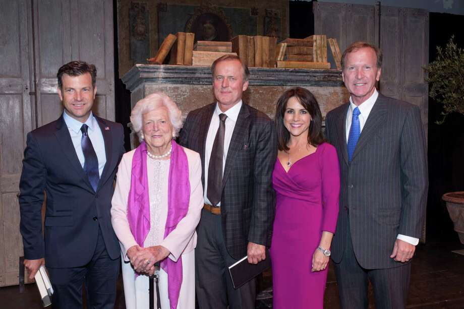 Author Eric Blehm, from left, Barbara Bush, author John Grisham, and Maria and Neil Bush Photo: Xx