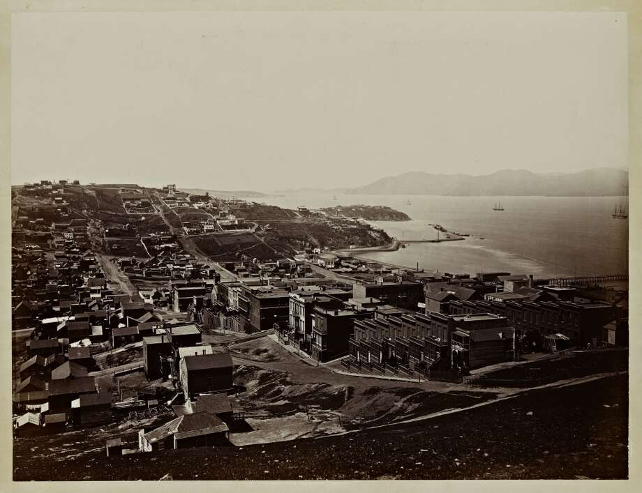 "Carleton Watkins (U.S.A., 1829–1916), ""The Golden Gate from Telegraph Hill, San Francisco,"" 1862–1864, from the album Photographs of the Pacific Coast. Albumen print. Lent by Department of Special Collections, Stanford University Libraries."