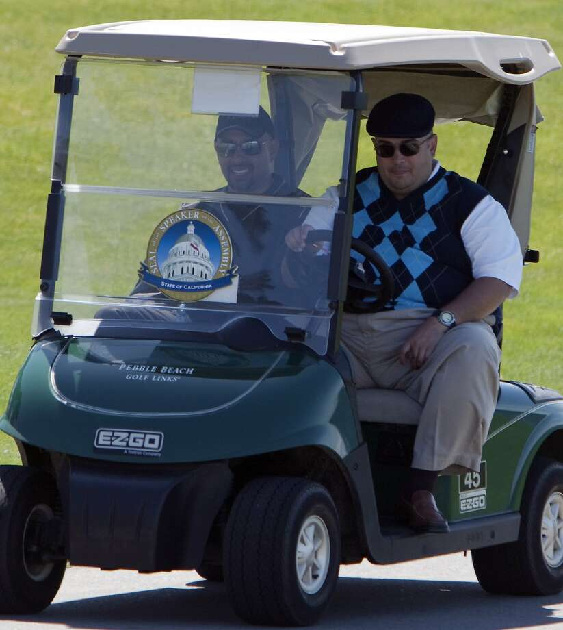 Assembly Speaker John Pérez (right) at a golf fundraiser at Pebble Beach in 2011 hosted by AT&T, which is fighting the cell phone kill switch bill this year. Photo: Gina Ferazzi, Los Angeles Times