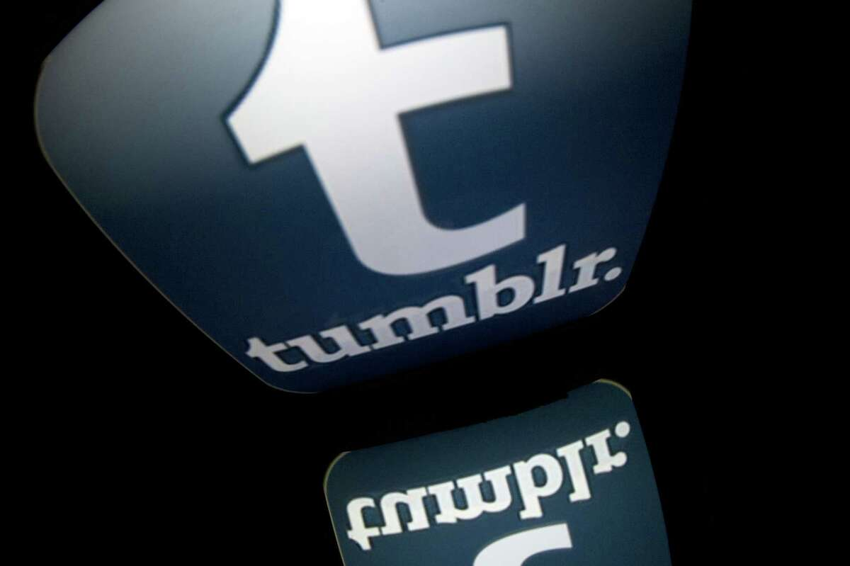 """The logo of mobile app """"tumblr"""" is displayed on a tablet on January 2, 2014 in Paris. AFP PHOTO / LIONEL BONAVENTURE (Photo credit should read LIONEL BONAVENTURE/AFP/Getty Images)"""