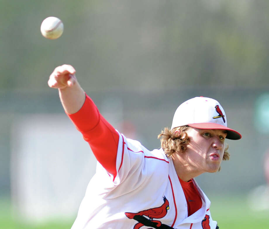 Greenwich pitcher Kyle Dunster throws during the high school baseball game between Greenwich High School and St. Joseph High School at Greenwich, Friday, May 2, 2014. Greenwich won 5-4 on a game winning double by Kyle Dunster in the bottom of the 7th inning. Photo: Bob Luckey / Greenwich Time