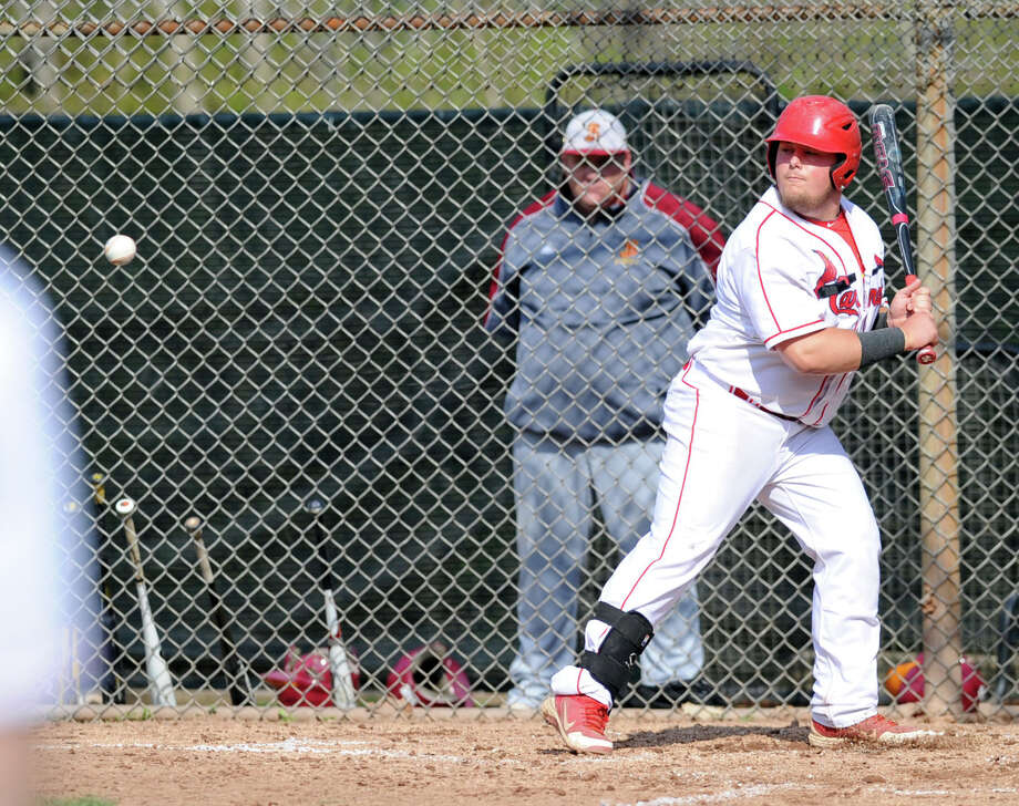 High school baseball game between Greenwich High School and St. Joseph High School at Greenwich, Friday, May 2, 2014. Greenwich won 5-4 on a game winning double by Kyle Dunster in the bottom of the 7th inning. Photo: Bob Luckey / Greenwich Time