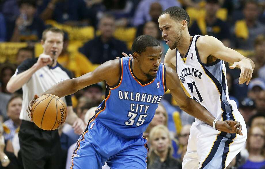 Kevin Durant, after a big performance in Game 6, leads Oklahoma City against Memphis in Game 7. Photo: Mark Humphrey, Associated Press