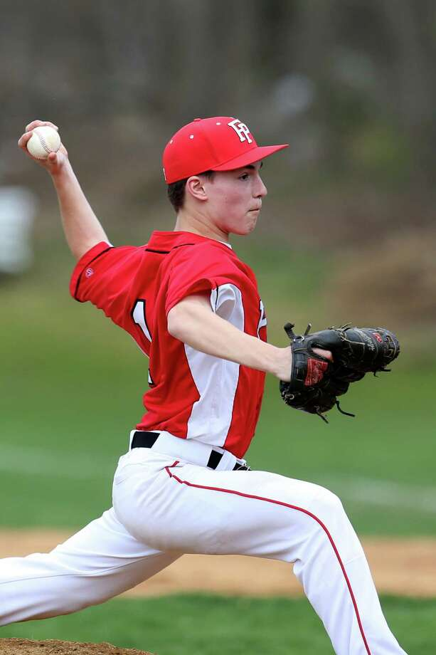 Fairfield Prep's pitcher #11 Dan Schmedlin delivers his pitch during Friday afternoon match-up against Amity High School. Prep would win 10-7. Photo: Mike Ross / Mike Ross Connecticut Post freelance - @www.mikerossphoto.com