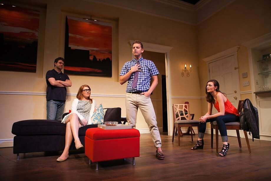 "Students Martin (James Wagner, left), Kate (Lauren English), Douglas (Patrick Russell) and Izzy (Natalie Mitchell) anticipate the arrival of a famed writing teacher in ""Seminar."" Photo: Jessica Palopoli"