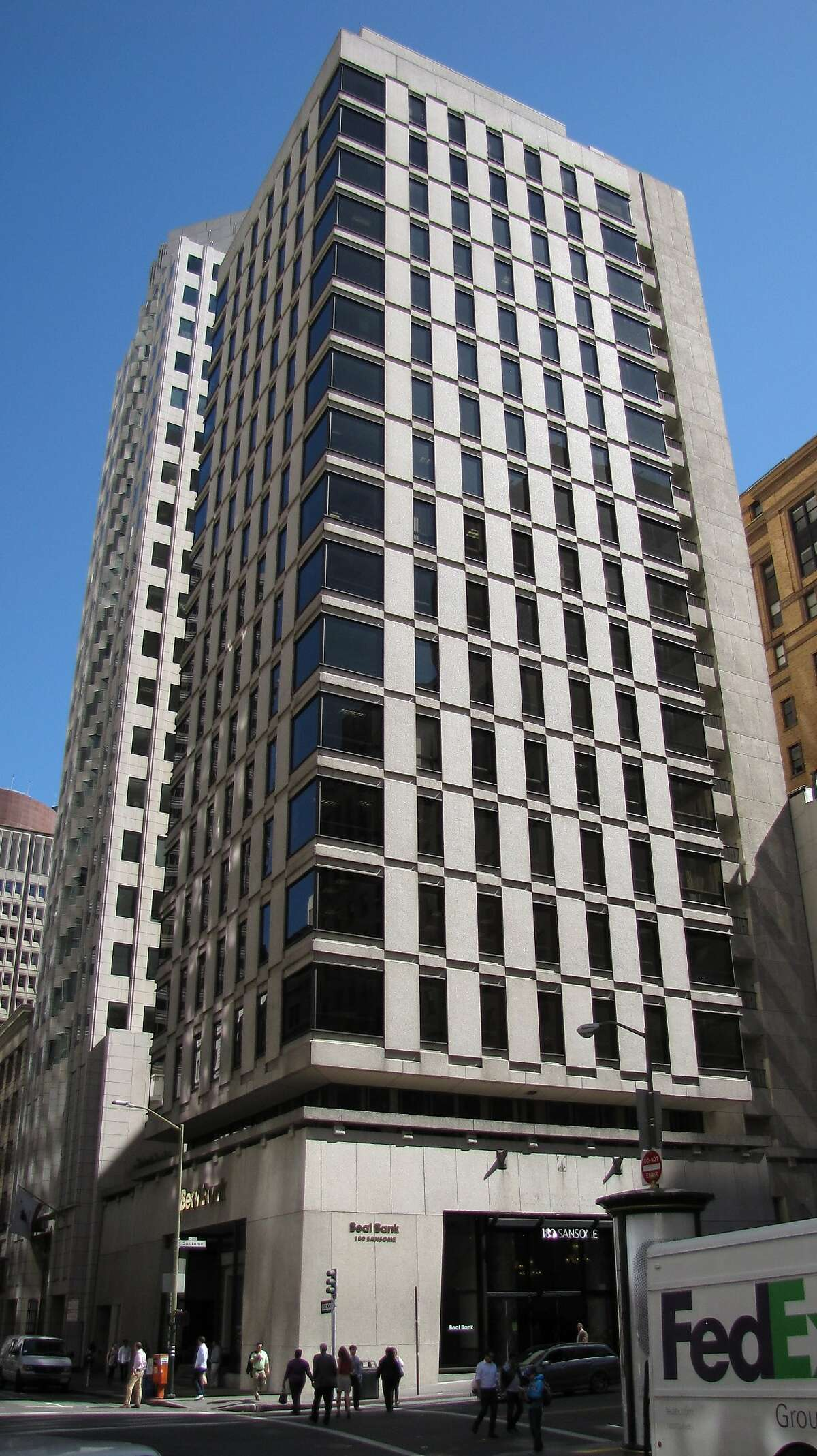 The 18-story tower at 180 Sansome St. is from 1964. The architect is Hertzka & Knowles, and the texture concrete modernism fits its Financial District context surprisingly well.