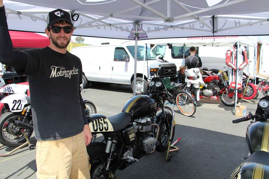 Zack Courts, another Motorcyclist editor, with one of several Triumph Thruxton 900 bikes the magazine brought to Sonoma.