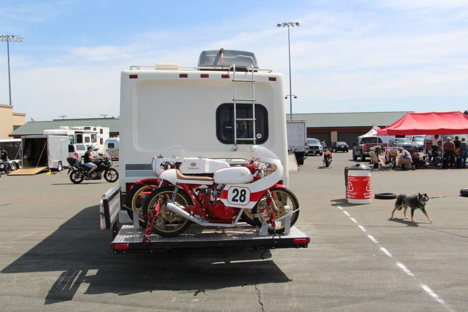 Rob Baggaley of Santa Clarita, Calif., leaving the raceway for the long trip home. He said his race day was cut short because the engine on his Honda CB175 seized, and the shift lever on his Yamaha TR3 broke.