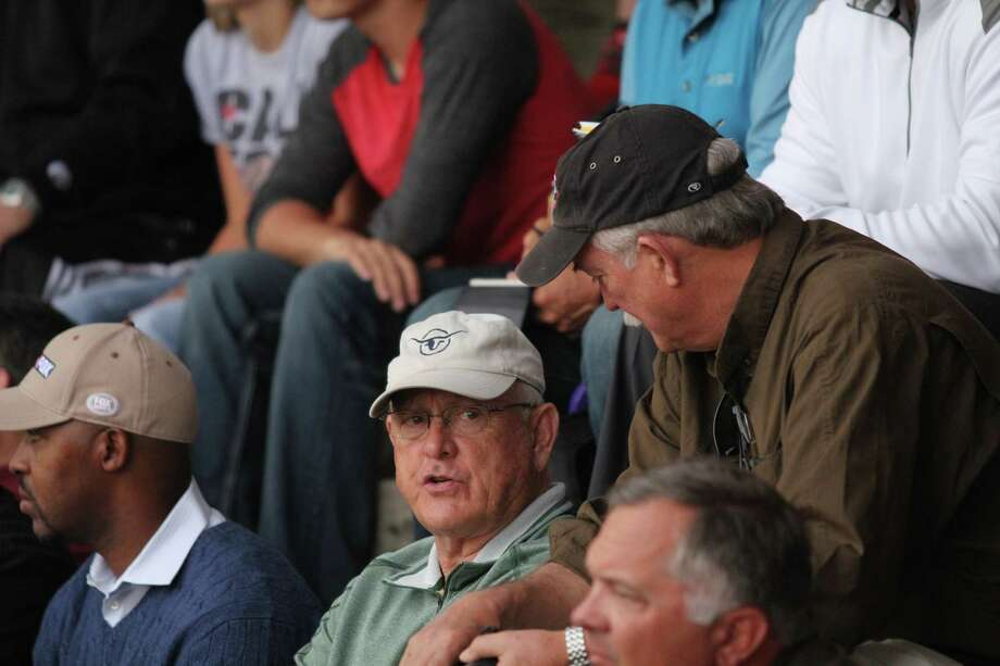 Hall of Famer Nolan Ryan, center, and Bo Porter, left, didn't have to go far to see one of the nation's top high school pitching prospects - Shepherd's Tyler Kolek. Photo: Jason Dunn