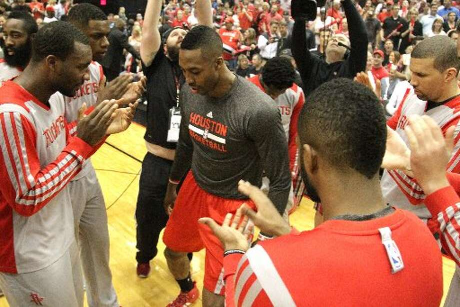 Rockets center Dwight Howard is introduced before Game 6. Photo: James Nielsen, Houston Chronicle