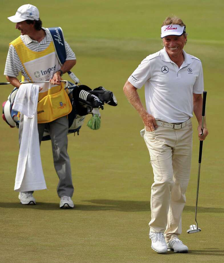Bernhard Langer, right, was all smiles after finishing the first round as co-leader of the Insperity Championship, tied with Bart Bryant at 6-under 66. Photo: Eric Christian Smith, Freelance