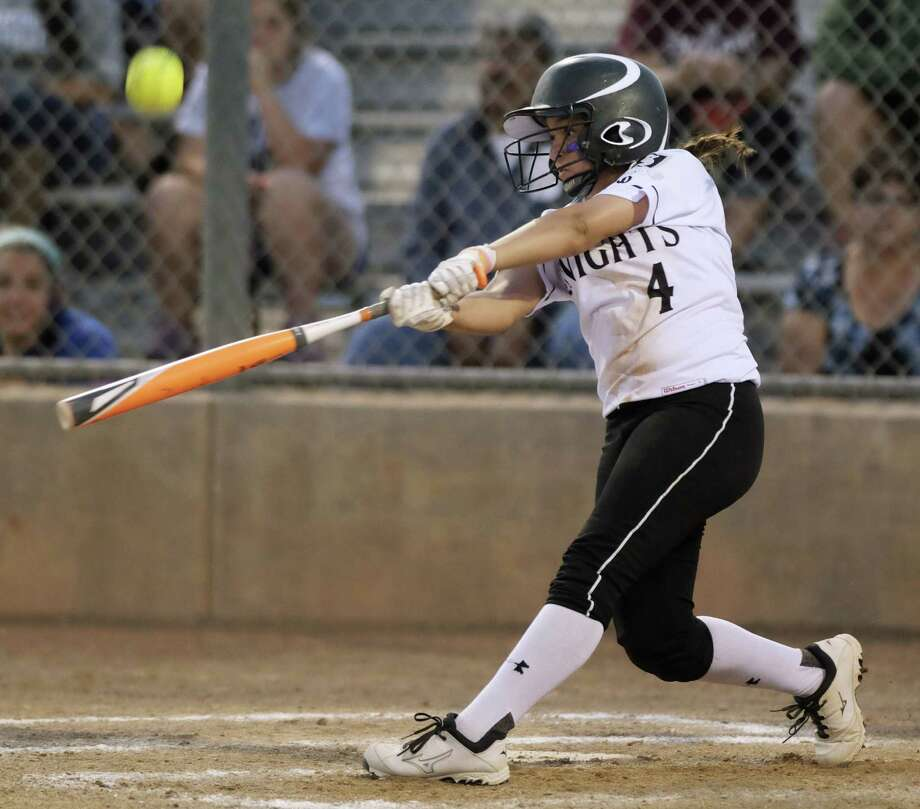 Steele's Miranda Holguin belted two home runs Friday, helping the Knights rout New Braunfels 15-4. Photo: Darren Abate / For The Express-News