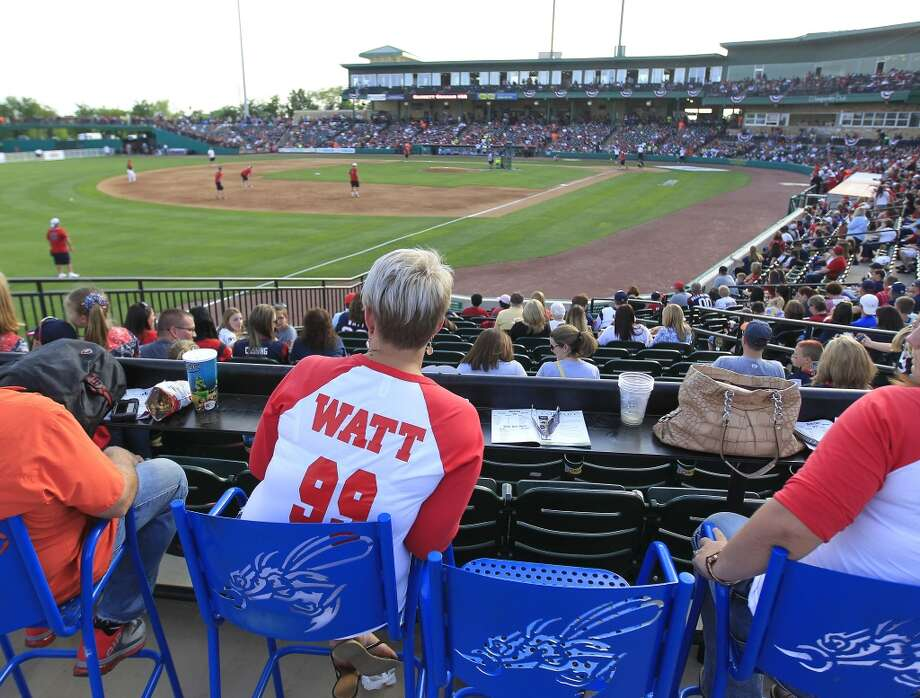 Fans wear Watt jerseys during the home run derby. Photo: Karen Warren, Houston Chronicle