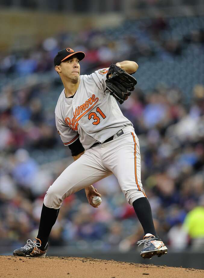 Baltimore's Ubaldo Jimenez struck out 10 in seven scoreless innings against Minnesota. Photo: Hannah Foslien, Getty Images
