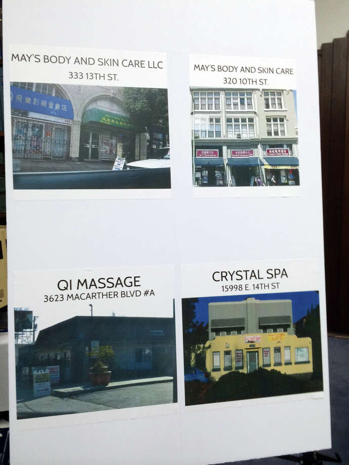 Massage parlors that allegedly served as fronts for prostitution.
