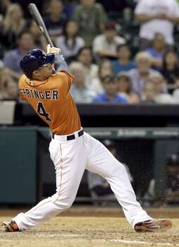 May 2: Astros 5, Mariners 4 (11 innings)  George Springer drove in the game-winning run with a bases-loaded single.  Record: 10-19. Photo: Pat Sullivan, Associated Press