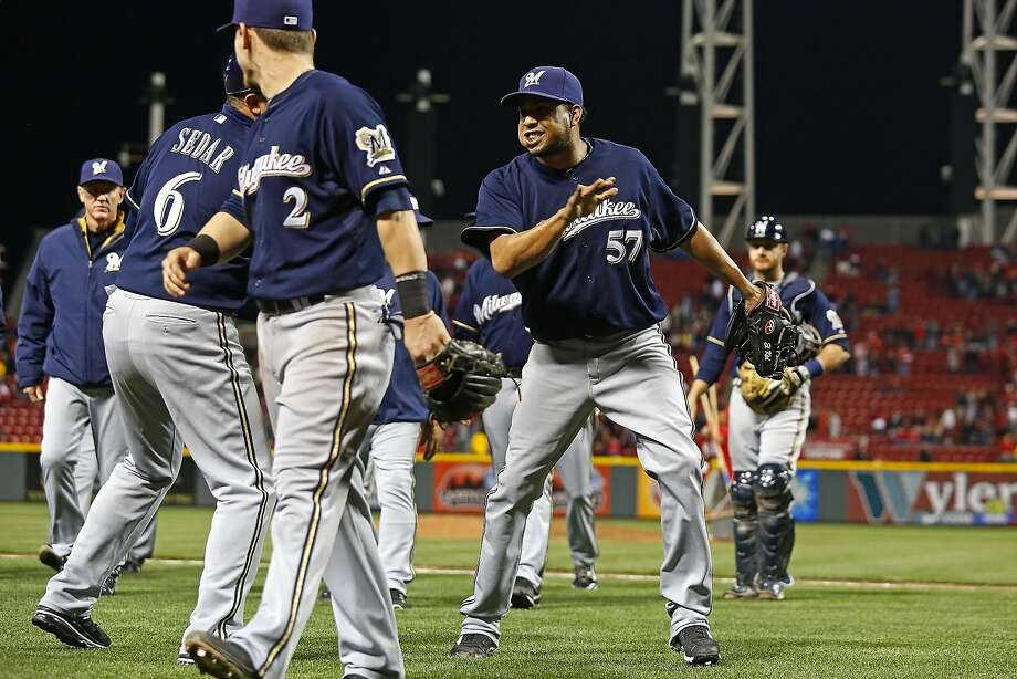 The Brewers' Francisco Rodriguez (57) collected his 14th save in 14 tries Friday. Photo: Kirk Irwin, Getty Images