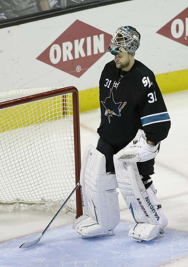 Antti Niemi, who had a 3.74 goals-against average against the Kings in the playoffs, could be a trade chip for the Sharks. Photo: Associated Press