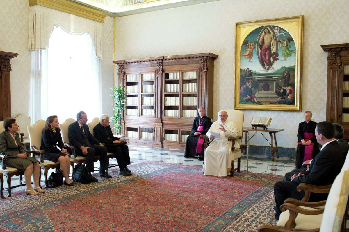 Pope Francis meets April 11, 2014, with an international group. Lakewood Church Pastor Joel Osteen was part of another group that met with the pope at the Vatican on June 5, 2014. File photo.