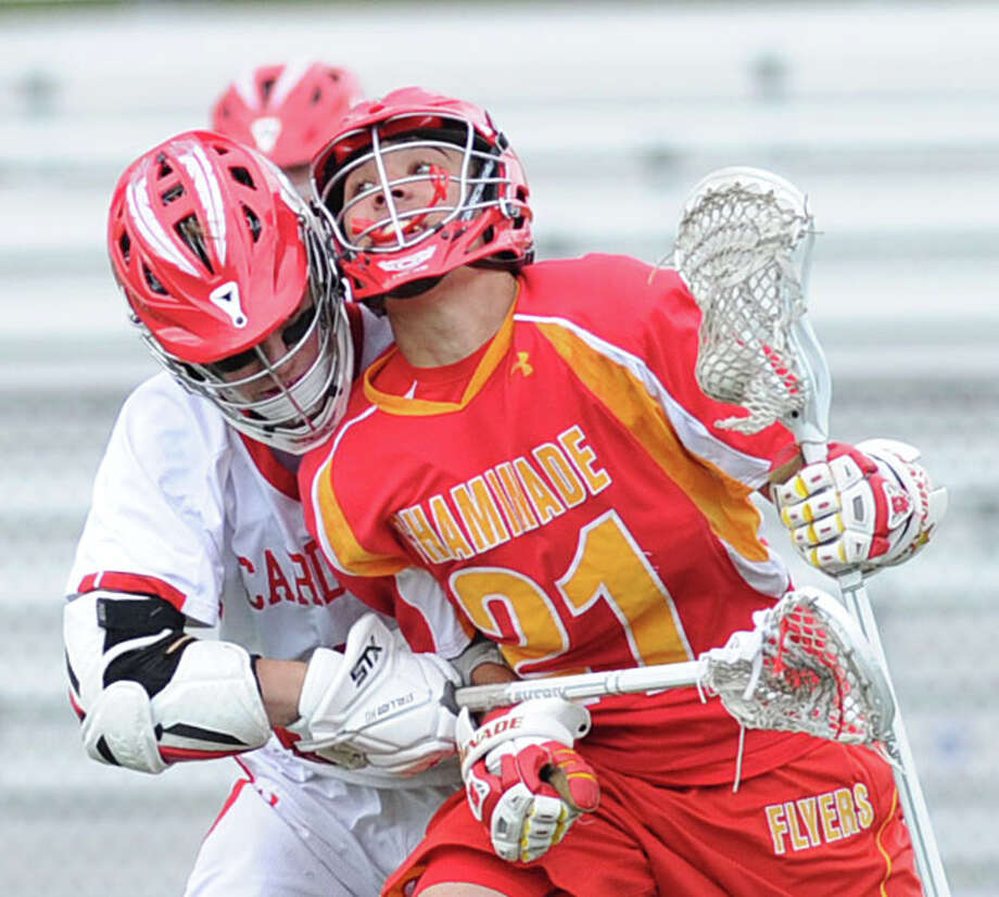 Boys high school lacrosse match between Greenwich High School and Chaminade High School at Greenwich, Saturday, May 3, 2014. Photo: Bob Luckey / Greenwich Time