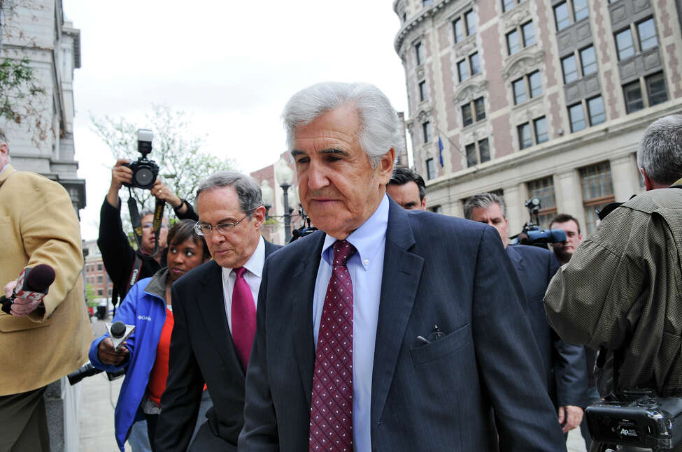 Former state Senate Majority Leader Joseph Bruno enters the U.S. District Court with attorney E. Stewart Jones, left, before he was indicted for a second time on Thursday afternoon May 3, 2012 in Albany, NY. (Philip Kamrass / Times Union)