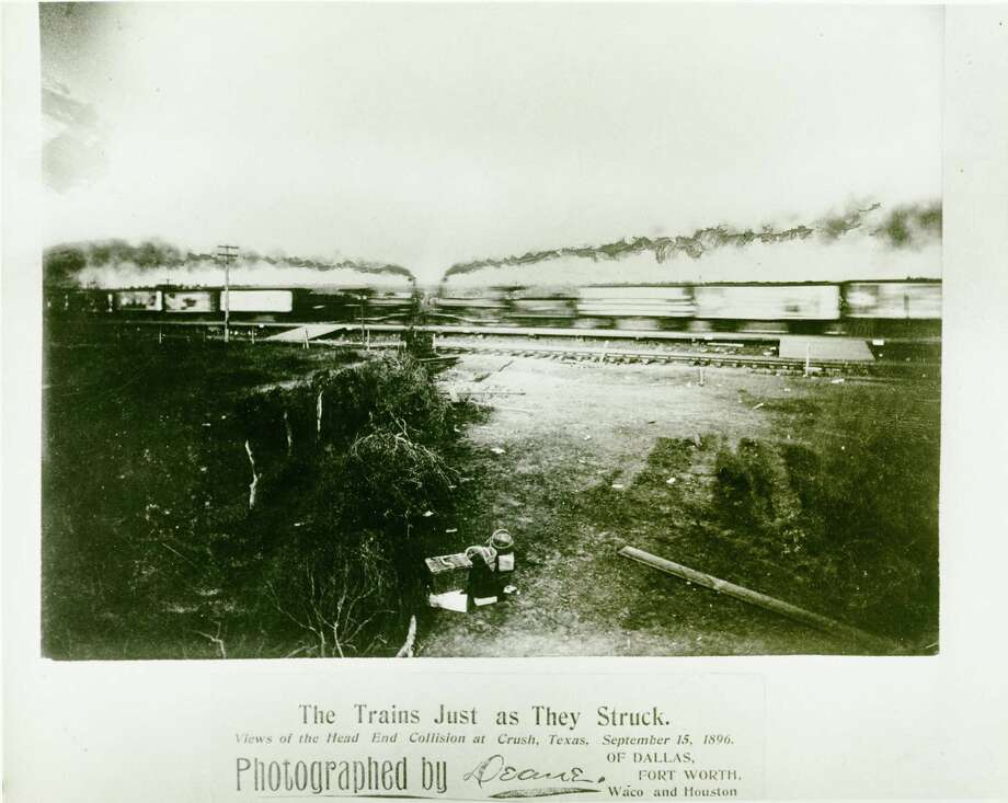 The Crash at Crush event near West in 1896 featured two locomotives colliding. The event attracted 40,000 to 50,000 people and injured photographer Jervis Dean. At least two people died when the boilers exploded.