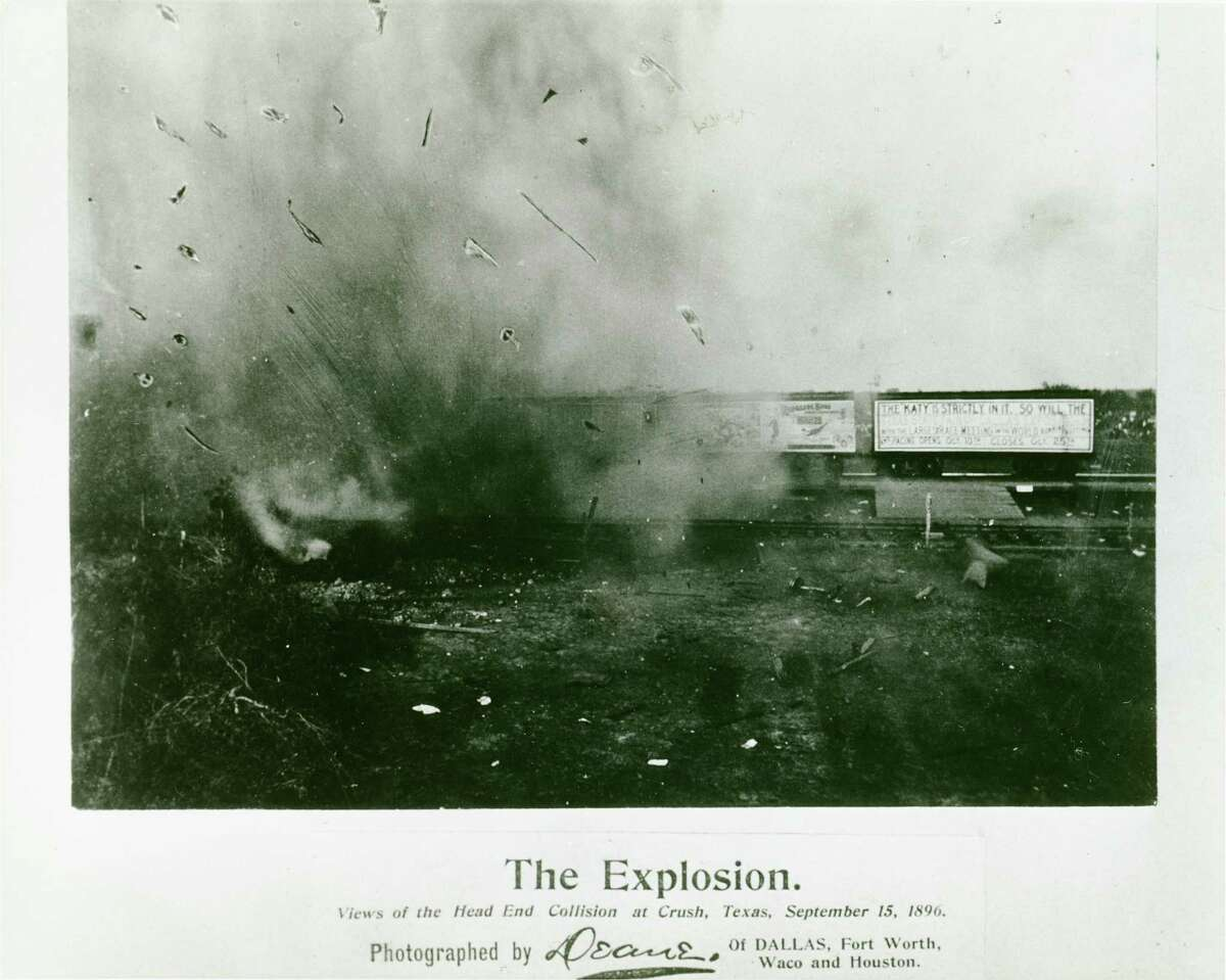 """Top photo: 'The Trains Just as They Struck"""" Bottom photo: The Explosion"""" --The Crash at Crush, near West, Texas in 1896. Attracted between 40,000 and 50,00 people and injured the photographer, Jervis Dean. For Native Texan 0504. (Photo credit: The Texas Collection) text text text test test text"""