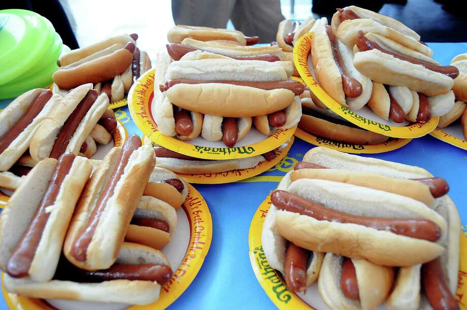 A pile of hot dogs at the Nathan's Famous Hot Dog Eating Contest regional qualifier at Memorial City Mall Saturday May 03, 2014.(Dave Rossman photo) Photo: Dave Rossman, For The Houston Chronicle / © 2014 Dave Rossman