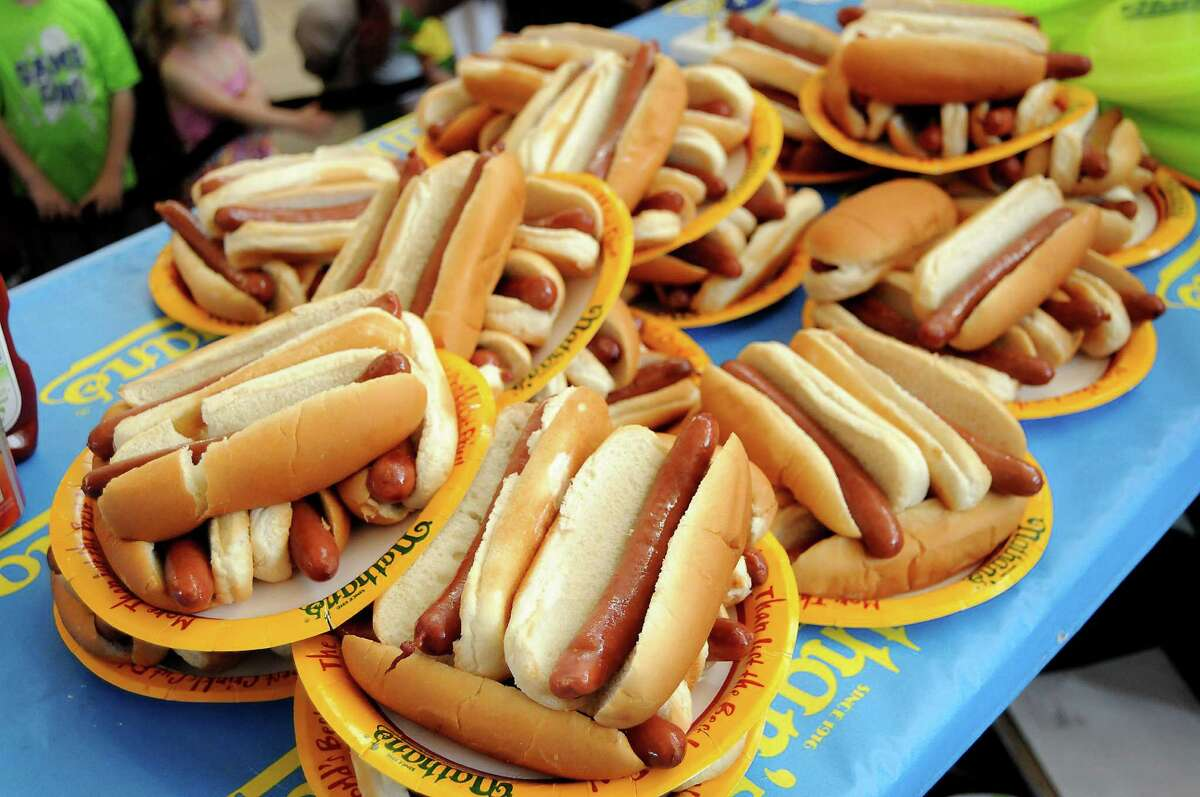 A pile of hot dogs at the Nathan's Famous Hot Dog Eating Contest regional qualifier at Memorial City Mall Saturday May 03, 2014.(Dave Rossman photo)