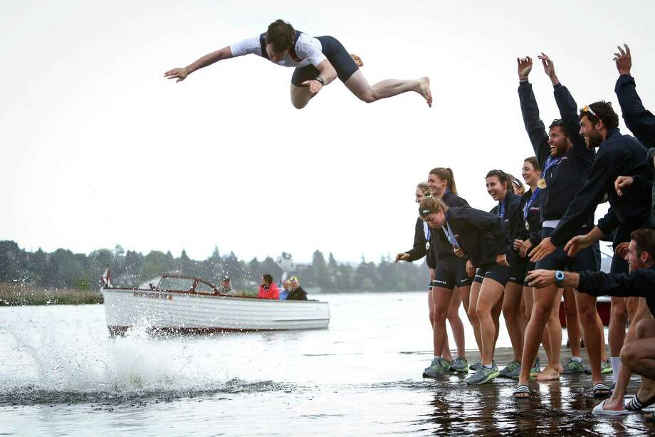 Great Britain's coxswain Henry Fieldman is tossed into the water after his team won the Men's Windermere Cup during the annual Windermere Cup Regatta. Photo: JOSHUA TRUJILLO, SEATTLEPI.COM / SEATTLEPI.COM