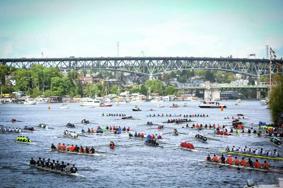 Rowers make their way back through the Montlake Cut during the annual Windermere Cup Regatta. Photo: JOSHUA TRUJILLO, SEATTLEPI.COM / SEATTLEPI.COM