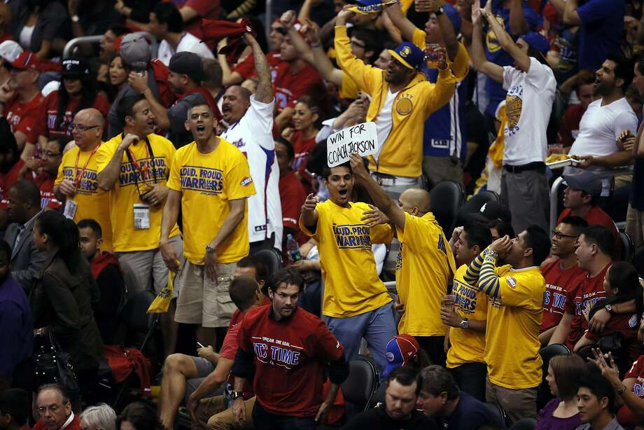Fans cheer in Game 7 at the Staples Center in Los Angeles during the first half, when the Warriors never trailed. Photo: Michael Macor, The Chronicle