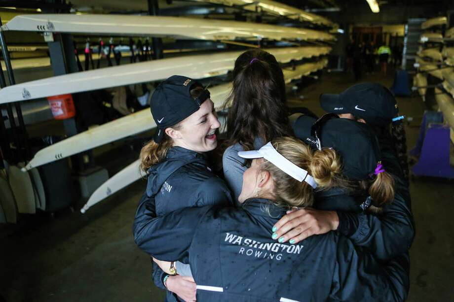 Members of the UW Women's rowing team embrace after competing during the annual Windermere Cup Regatta. Photo: JOSHUA TRUJILLO, SEATTLEPI.COM / SEATTLEPI.COM