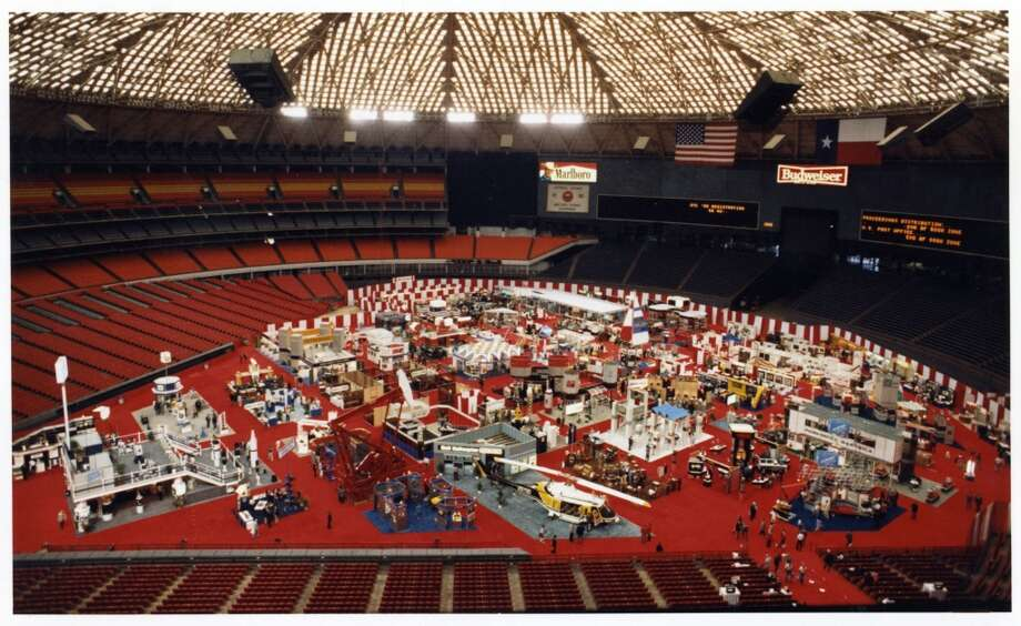 1986 -- After OTC nixed its exhibition in 1984, the conference starts to rebuild with growth in global activity.  Attendance: 27,681  Space: 251,896 sf  Exhibiting companies: 1,231  [Photo: Offshore Technology Conference exhibits are displayed on the floor of the Astrodome.] Photo: Tim Bullard, Houston Chronicle