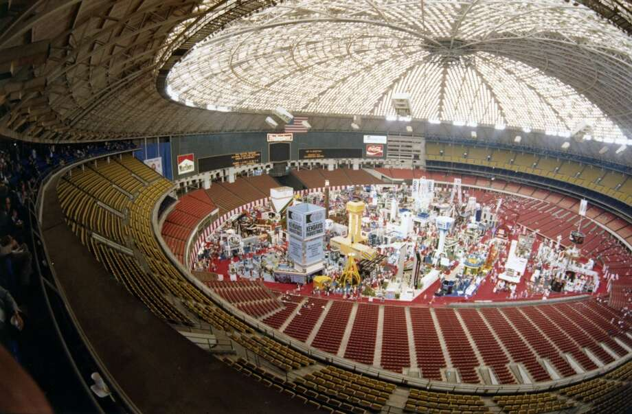 1982 -- Record attendance at the Offshore Technology Conference: 108,161.  Attendance: 108,161  Space: 631,000 sf   Exhibiting companies: 2,500  [Photo: Offshore Technology Conference exhibits are displayed on the floor of the Astrodome.] Photo: Houston Chronicle Files