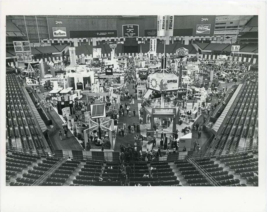 1980Attendance: 86,965  Space: 483,000 sf  Exhibiting companies: 2,200  [Photo: The 12th annual Offshore Technology Conference opened at the Astrodome complex with large crowds enjoying the fair-like atmosphere.] Photo: Bill Thompson, Houston Chronicle