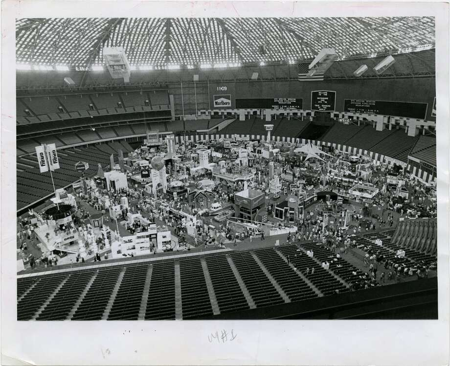 1979Attendance: 78,686  Space: 450,000 sf  Exhibiting companies: 2,000  [Photo: Oil industry equipment fills the Harris County Domed Stadium (Astrodome) playing field as part of the four-day 11th annual Offshore Technology Conference. Exhibits also spilled over into the Astrohall, headquarters for the conference.] Photo: Jerry Click, Houston Chronicle