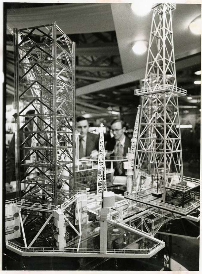 1972  Attendance: 15,500  Space: 93,500 sf  Exhibiting companies: 540  [Photo: Replicas of the latest in offshore drilling and production equipment is inspected  by two visitors at the Offshore Technology Conference at the Astrohall.] Photo: Danny Connolly, Houston Chronicle