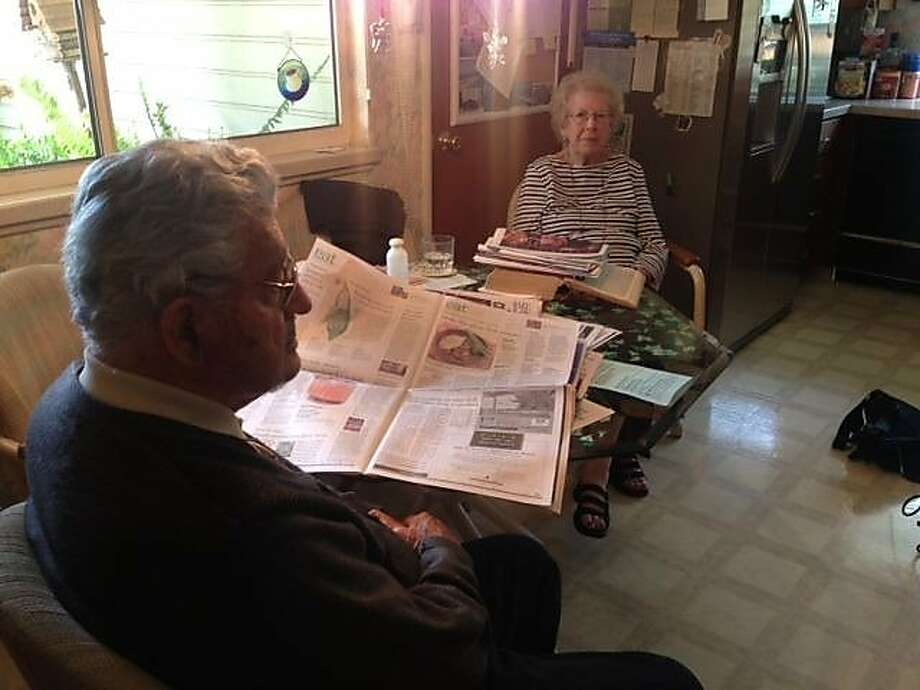 Bernard Levine, 91, and his wife, Dorothy Brunauer, 83, recount their ordeal at the hands of a home-invasion robber in Sunnyvale. Photo: Mark Kelly/KPIX-TV