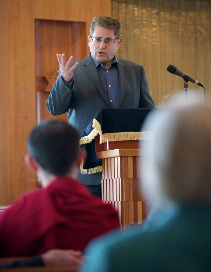 Rabbi Shaul Praver, speaks at Congregation Adath Israel, in Newtown, Conn, during a program for family members and representatives  of foundations, scholarships, and advocacy organizations that were formed after the Sandy Hook Elementary School shooting, on Sunday, May 4, 2014. Photo: H John Voorhees III / The News-Times Freelance