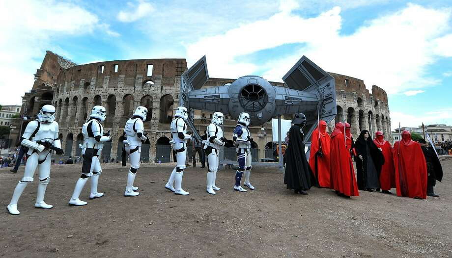 Introducing Rome's new emperor, Palpatine:Darth Vader and his boss arrive via TIE fighter outside the 