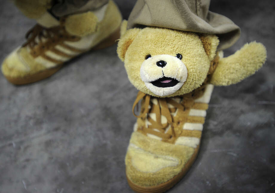 Teddy Bear Adidas, worn by sneaker aficianado Cristian Hernandez, of Bridgeport, at the inaugural Connecticut Sneaker Show at the Webster Bank Arena in Bridgeport, Conn. on Sunday, May 4, 2014. Photo: Brian A. Pounds / Connecticut Post