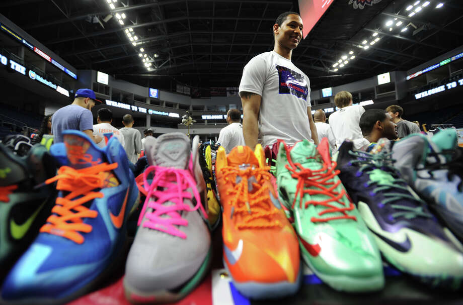 Martin Jackson, of Hartford, brought 150 pairs of sneakers to sell at the inaugural Connecticut Sneaker Show at the Webster Bank Arena in Bridgeport, Conn. on Sunday, May 4, 2014. Photo: Brian A. Pounds / Connecticut Post