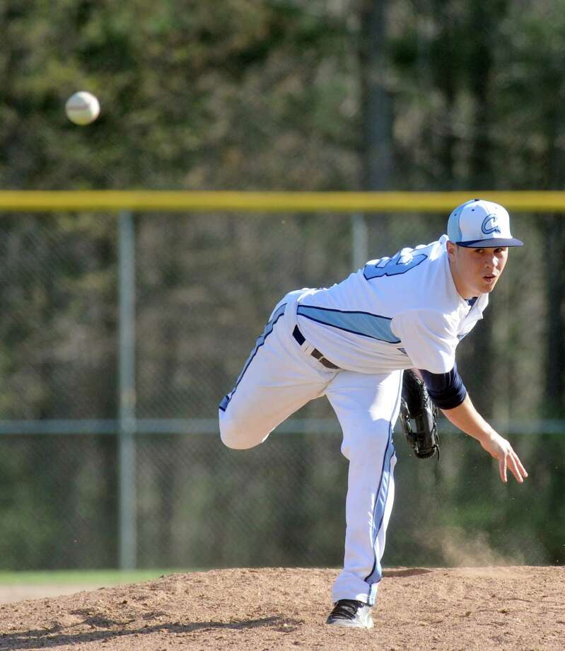 Columbia's Travis Sowards pitches during their boy's high school baseball game against Shenendehowa on Wednesday May 1, 2013 in East Greenbush, N.Y. (Michael P. Farrell/Times Union) Photo: Michael P. Farrell / 10022255A